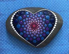Grandes pintadas Mandala corazón amor piedra