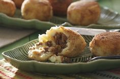 Papas Rellenas, Cuban potato balls filled with ground beef.
