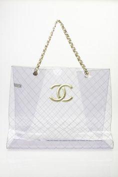 afa70d77128356 Chanel Clear Super Jumbo Clear Bags, Shopper Bag, Vintage Handbags,  Sunglasses Accessories,