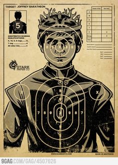 Everybody's favorite underage king, Joffrey Baratheon from Game of Thrones , is subject of a target practice poster, available on RedBubble. Game Of Thrones Joffrey, Game Of Thrones News, Arte Game Of Thrones, Game Of Thrones Gifts, Game Of Thrones Party, Game Of Thrones Birthday, Game Of Thrones Wine, Game Of Thrones Decor, Game Of Thrones Poster