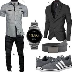 Eleganter Herren-Style mit Sakko und Smartwatch Elegant men's outfit with gray shirt, modern jacket, fossil smartwatch, black merish jeans, fabric belt and adidas sneakers. Elegantes Business Outfit, Mode Man, Herren Style, Elegant Man, Herren Outfit, Outfit Grid, Mens Fashion, Fashion Outfits, Casual Outfits