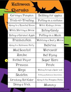 Halloween Charades - Perfect way to entertain the kiddos while they wait to trick-or-treat.