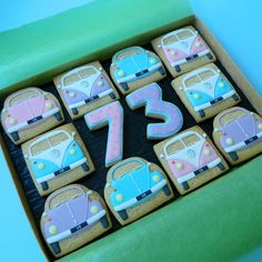 VW 73 bus beetle cookies frosting