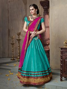 Aqua Banglori Silk Wedding Lehenga Choli 59694