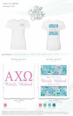 Alpha Chi Omega Parent's Weekend Shirt! #AChiO #AlphaChiOmega #GreekShirts #ParentsWeekendShirt #LilyPrint #SouthBySea WWW.SouthBySea.com