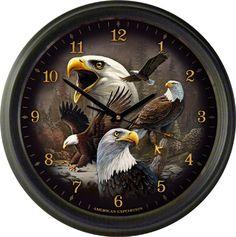 "Bald Eagle Collage 16"" Wall Clock"