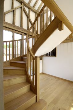 These timber winder stairs are a perfect example for homes with limited space. Neither quality nor design has suffered here.