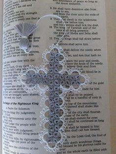 Tatted Lace Cross Bible Bookmark Silver Gray & White Beautiful Heirloom Quality Keepsake