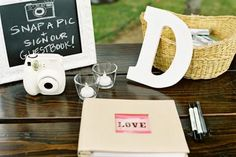 This is the perfect visual reminder for who attended the wedding. Guests simply snap a Polaroid photo when they arrive, secure it in the guest book, and write a note to the bride and groom.