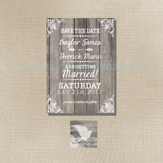 Printed Wedding Save the Date Only: Card Stock, Postcard or Magnet - Modern Rustic - The Baylor. $3.00, via Etsy.