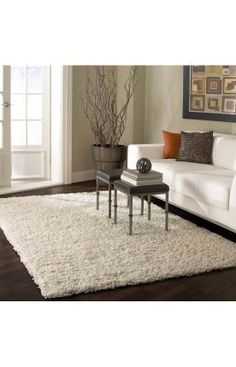 $5 Off when you share! Venice Shaggy White Rug | Contemporary Rugs