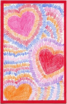 Radiating Valentine Card. Good practice for drawing radial symmetry. #valentine #symmetry