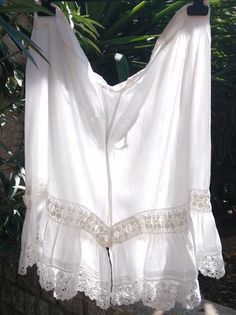 www.sophieladydeparis.etsy.com Rare and GORGEOUS white lacy Antique French Cotton Bloomer.Beautiful bottom lace trimmed with white ribbon inlay.  Made of white cotton . Goo... #antiquelinens #victorianclothing #sophieladydeparis #vintageclothing #antiquebabyclothing