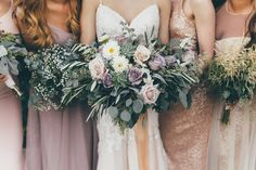 Purple and blush garden style bouquets by Design House Weddings.
