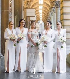 Beauties in white!  @inlightenphotography ・・・ Layla wearing @steven_khalil and her gorgeous bridesmaids, wearing gowns designed and handmade over countless hours by herself and a dressmaker! Amazing work!  Tag your bridesmaids if you love!  Wedding gown by @steven_khalil Flowers by @crazyaboutflowers Make up by @jennydo_ Hair by @veronicadoumit  #thecoordinatedbride #inlightenphotography #bridesmaids #bridesmaidsdress #bridesmaid #bridalparty #weddingdress #bride #coordinatedbridesmaids