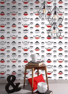 Moustache and Lips Wallpaper by Mind The Gap Lip Wallpaper, Cool Wallpaper, Pattern Wallpaper, Mind The Gap, Eclectic Design, Retro Pattern, Ancient Symbols, Repeating Patterns, Pattern Making