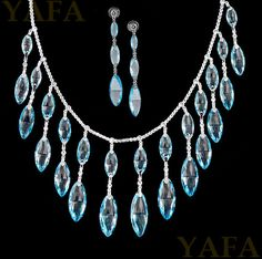 Briolette Beads in Marquise Shaped Blue Topaz and Diamond Necklace Suite