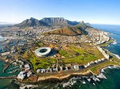Cape Town, South Africa 1 hour from Franschhoek home of La Clé des Montagnes - luxurious villas on a working wine farm Visit South Africa, Cape Town South Africa, My Kind Of Town, Africa Travel, Best Cities, Aerial View, Places To See, Travel Destinations, Scenery