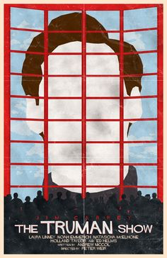 The Truman Show poster by William Henry. Movie directed by Peter Weir and written by Andrew Niccol. The cast includes Jim Carrey as Truman Burbank, as well as Laura Linney, Noah Emmerich, Ed Harris and Natascha McElhone. (1998)