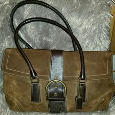 Authentic Coach Brown suede & leather handbag Leather belted snap closure, double reinforced leather handle, great condition Coach Bags