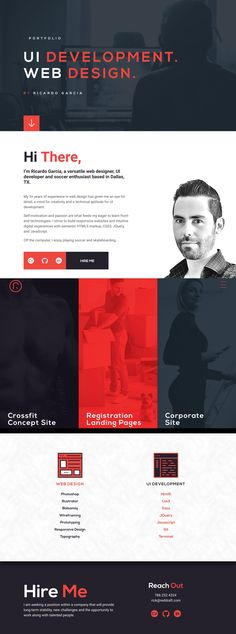 Long scrolling One Page portfolio for web designer, Ricardo Garcia. Quite like his contour-scroller background effect against the icon animations in the experience section.