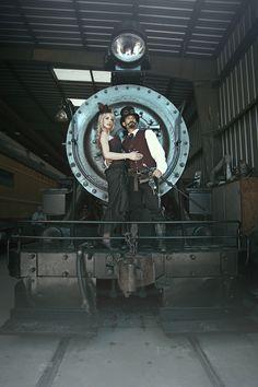 Rhonda and Jake rocking their Steampunk Engagement Photo Shoot - Vintage Victorian Fun