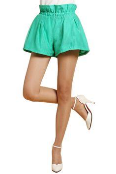 abaday Elastic Pocketed Sheer Green Shorts - Fashion Clothing, Latest Street Fashion At Abaday.com