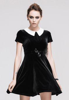 Nouveau produit : Robe noire en velours avec col blanc mercredi gothique Vous aimez ? / New product do you like ? Prix: 69.90 #new #nouveau #japanattitude #robes #gothique #gothic #cosplay #occulte #occult