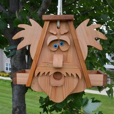 Large Goofy Man Cedar Bird Feeder with by InkedWoodworking on Etsy