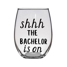 Excited to share the latest addition to my #etsy shop: Shhh The Bachelor is on stemless wine glass / The Bachelor Wine Glass / Reality Tv Wine Glass / Funny Wine Glass / Television Show
