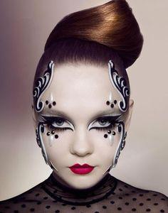 Afbeeldingsresultaat voor zwart wit make up Eye Makeup, Makeup Art, Angel Makeup, Black And White Makeup, Black White, Extreme Makeup, Fantasy Make Up, Theatrical Makeup, Special Effects Makeup