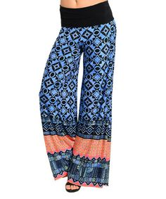 Another great find on #zulily! Royal & Black Mosaic Palazzo Pants #zulilyfinds