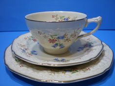 Trio De Te- Taza C/platos-loza Inglesa Crown Ducal-