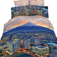 Sky Line Modern Duvet Quilt Cover Bedding Set with Pillow Case All Sizes
