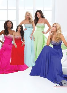 Tony Bowls 2014 Red Light Green Light Blue Royal Blue Fuchsia STrapless A-Line Gown 114535 | Promgirl.net
