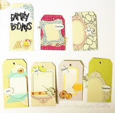 Mandy Koeppen: Birthday Tag Book using Epiphany Crafts Button Studio