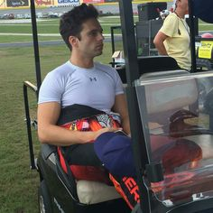 Sebastian on the set of Logan Lucky at Atlanta Motor Speedway (September 27, 2016)