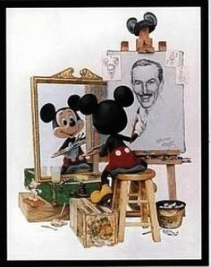 ''Self Portrait'' Walt Disney and Mickey mouse.this is by far my favorite of all disney art Walt Disney Mickey Mouse, Disney Pixar, Disney Parks, Disney Merch, Disney Micky Maus, Deco Disney, Art Disney, Disney Kunst, Mickey Mouse And Friends