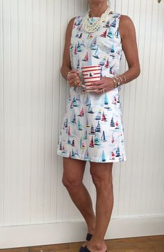 Looking for the Perfect Summer Classic - something that you will be excited to pull out of your closet year after year- This Classic sheath style dress is so effortlessly cool and fun. Not to mention the Iconic sail boat print in red white and blue - Summ Pink Outfits, Preppy Outfits, Preppy Clothes, Preppy Dresses, Newport Clothing, Prep Style, My Style, Preppy Girl, Preppy Summer Style