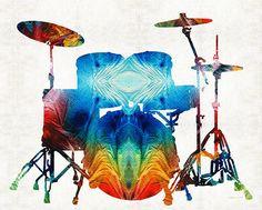 Title:Drum Set Art - Color Fusion Drums - By Sharon Cummings Medium:Painting - Mixed Media Drums Art, Colorful Animals, Paintings For Sale, Rock Art, Canvas Art Prints, New Art, Design Art, Graphic Design, Fine Art America