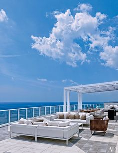 The expansive terrace at real-estate magnate Jorge Pérez's oceanside pied-à-terre in Hollywood, Florida, offers breathtaking ocean views.