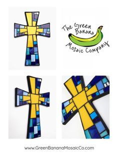 """Mosaic Wall Cross - Large - """"Sun"""" - Black with Yellow and Blue Glass - Handmade Stained Glass Mosaic Cross Wall Decor - x by Dana Hess, Mosaic Artist @ The Green Banana Mosaic Company Mosaic Wall, Mosaic Glass, Stained Glass, Glass Art, Mosaic Crosses, Wall Crosses, Mosaic Company, Cross Wall Decor, Green Banana"""