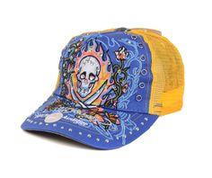 3b402c5121fb7 Ed Hardy Blue Orange Flaming Sword Skull Mesh Caps 0889