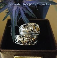 We love the details crafted into these claddagh rings by Keith Jack, a talented Celtic artist.  #Claddaghrings