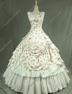 Victorian Civil War Southern Belle Dress Ball Gown Reenactment Clothing