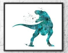 T-Rex Watercolor Print Dinosaur Art Dinosaur Poster Wall Art Home Decor Kid Nursery Prints, Nursery Wall Art, Wall Art Prints, Nursery Decor, Kids Wall Decor, Decor Room, Wall Decorations, Room Art, Dinosaur Art Projects