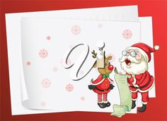 illustration of paper sheets, santa claus and a reindeer on a red background