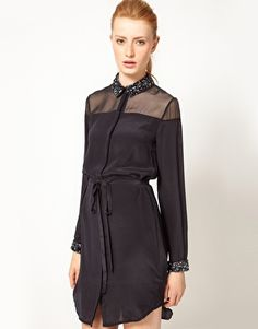 Enlarge French Connection Shirt Dress With Encrusted Collar & Cuff Soooo Meeee!