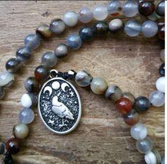 Raven Moon, raven prayer beads, raven mala, moon prayer beads, moon mala, magick prayer beads, magick mala,  wiccan prayer beads, wicca mala by MagickAlive on Etsy