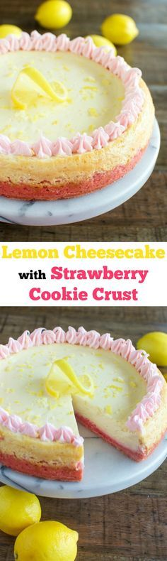 Easy, Creamy Lemon Cheesecake with a Strawberry Crust!